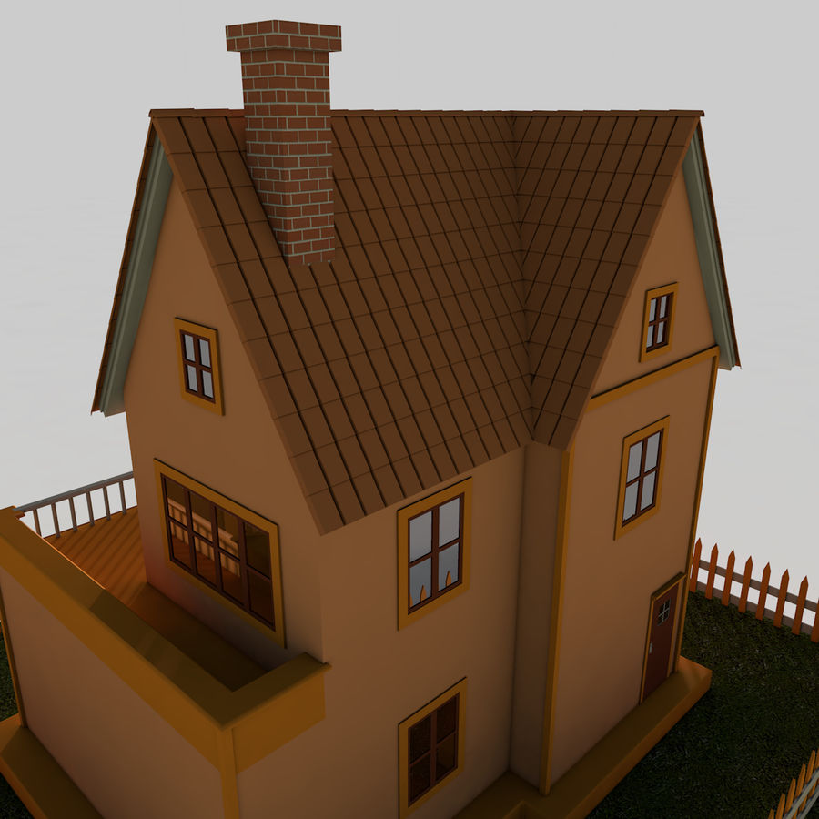 Karikatür evi royalty-free 3d model - Preview no. 11