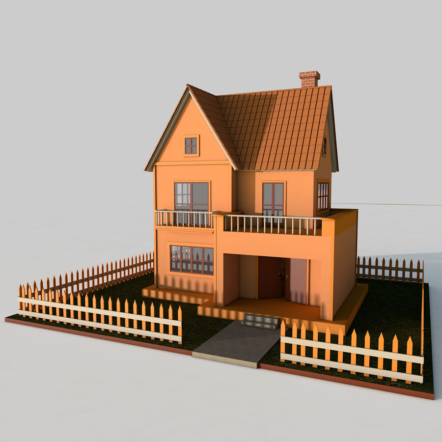 Karikatür evi royalty-free 3d model - Preview no. 1