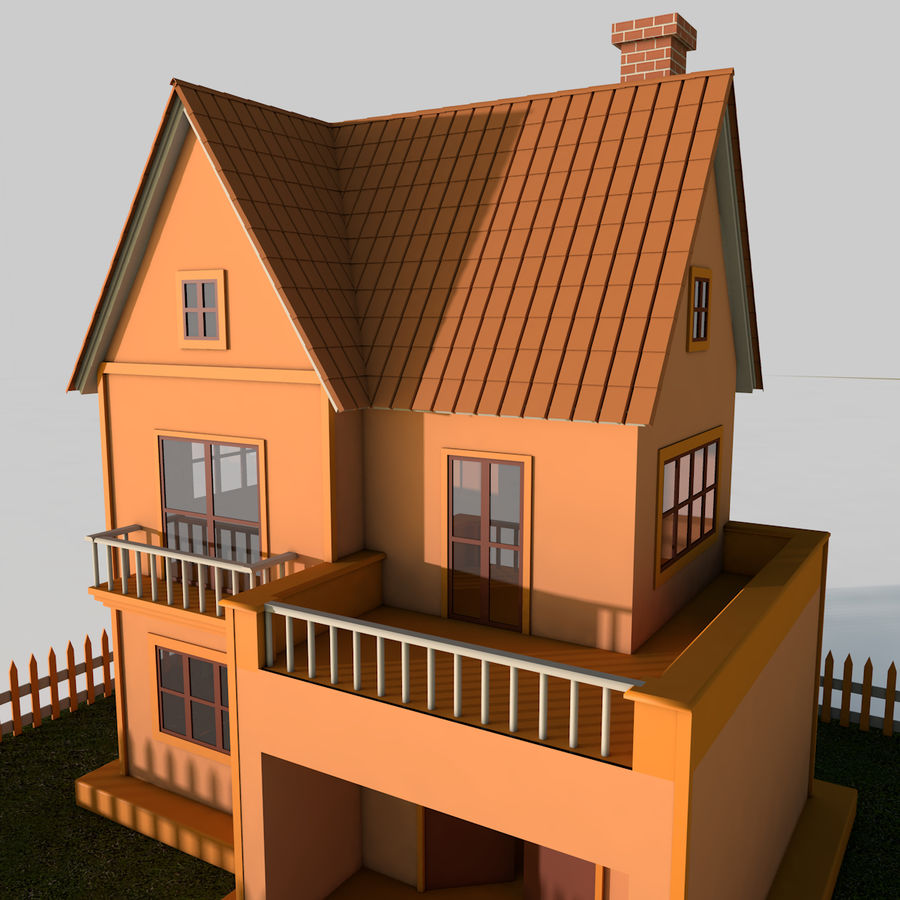 Karikatür evi royalty-free 3d model - Preview no. 3