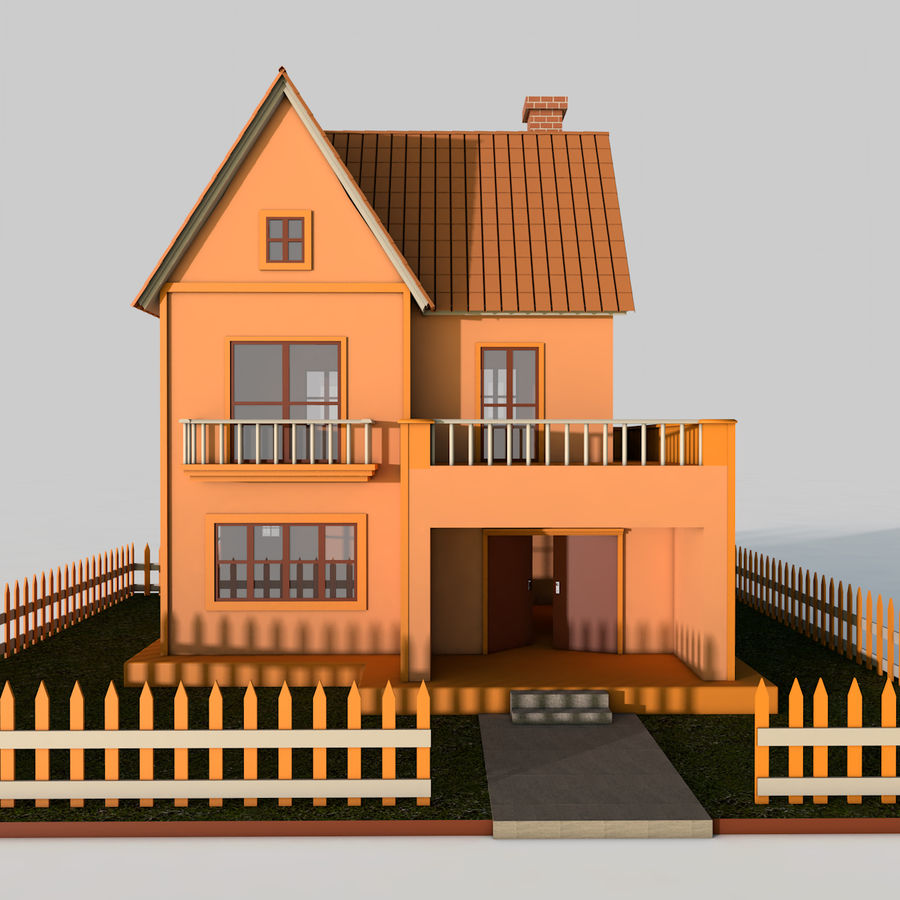 Karikatür evi royalty-free 3d model - Preview no. 2