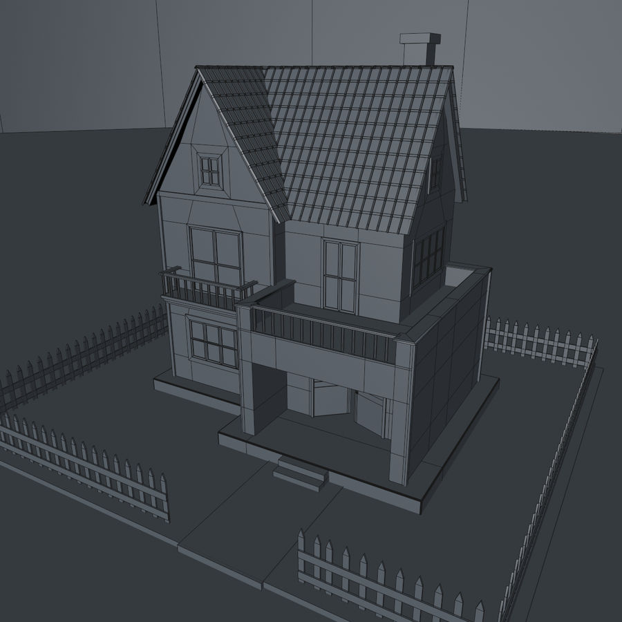 Karikatür evi royalty-free 3d model - Preview no. 15