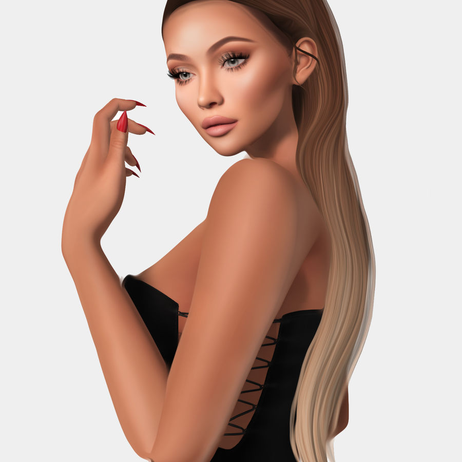 Anissa 3d low poly game ready mesh hair rigged royalty-free 3d model - Preview no. 1