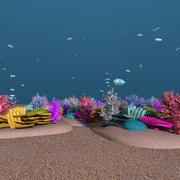 CORAL REEF 1 WITH PARROT FISHES SWIMMING ANIMATION 3d model