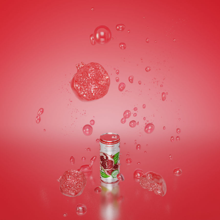 Can bottle scene pomegranate royalty-free 3d model - Preview no. 2