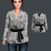 Belted Fur Jacket 3d model