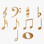 Golden Musical Notes 3d model