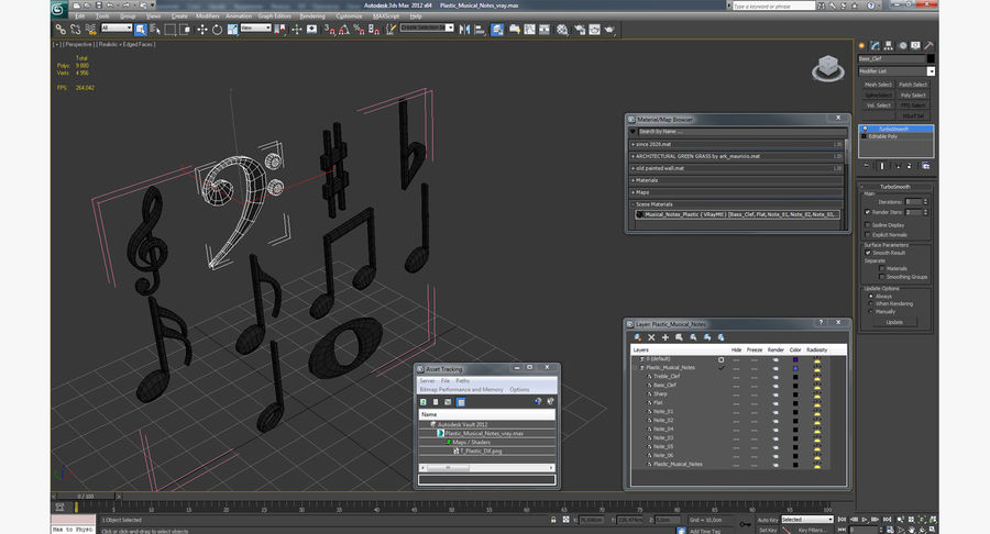 Plastic Musical Notes royalty-free 3d model - Preview no. 13