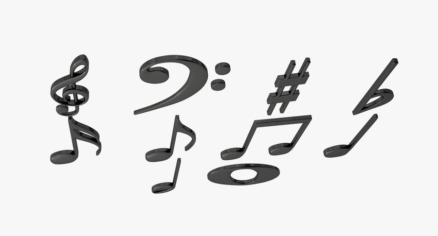 Plastic Musical Notes royalty-free 3d model - Preview no. 4
