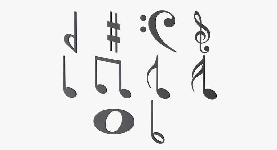 Plastic Musical Notes royalty-free 3d model - Preview no. 5