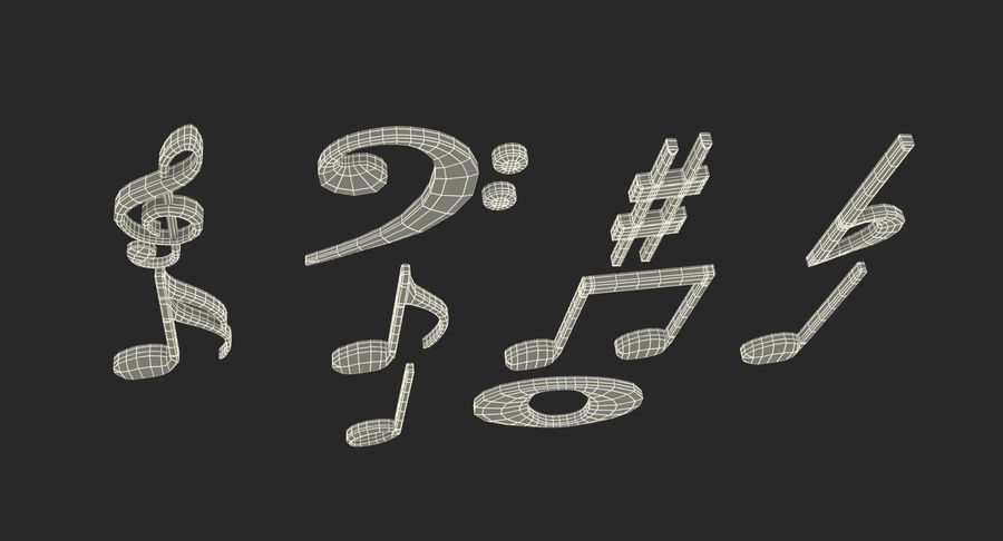 Plastic Musical Notes royalty-free 3d model - Preview no. 16