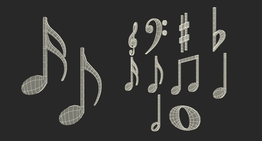 Plastic Musical Notes royalty-free 3d model - Preview no. 14