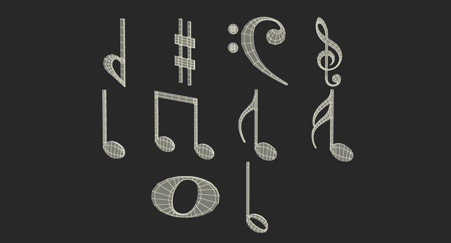Plastic Musical Notes royalty-free 3d model - Preview no. 17