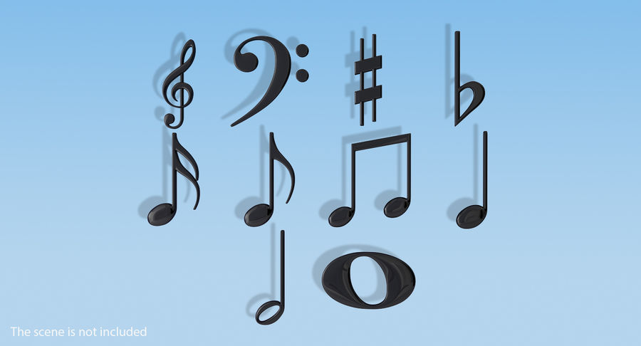 Plastic Musical Notes royalty-free 3d model - Preview no. 2