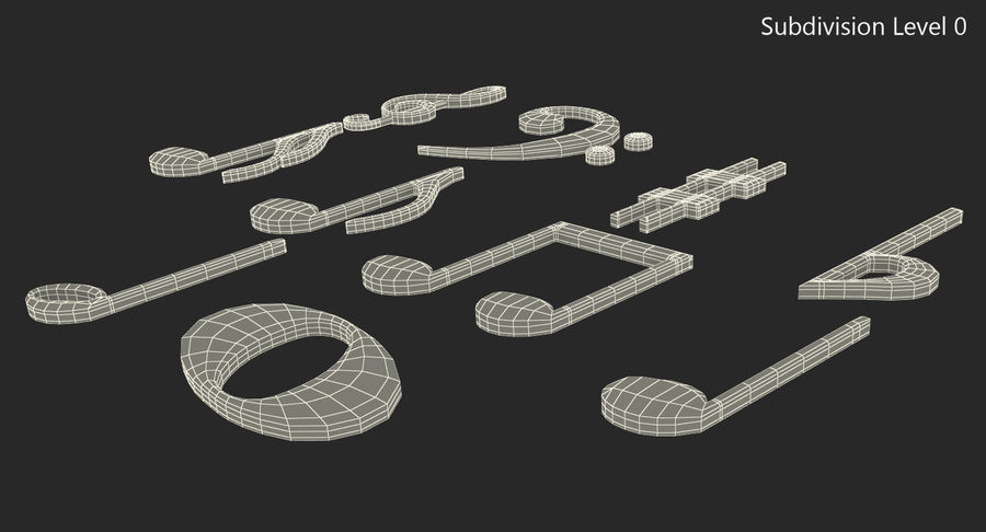 Plastic Musical Notes royalty-free 3d model - Preview no. 7