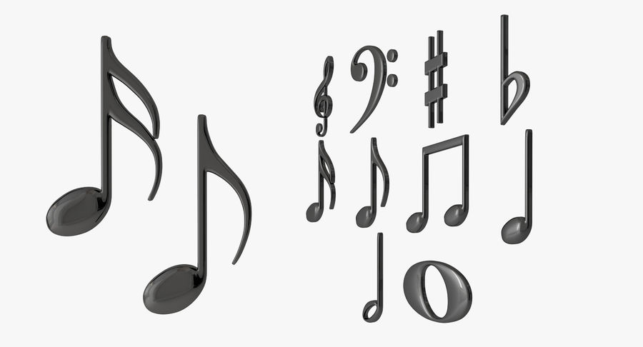 Plastic Musical Notes royalty-free 3d model - Preview no. 3