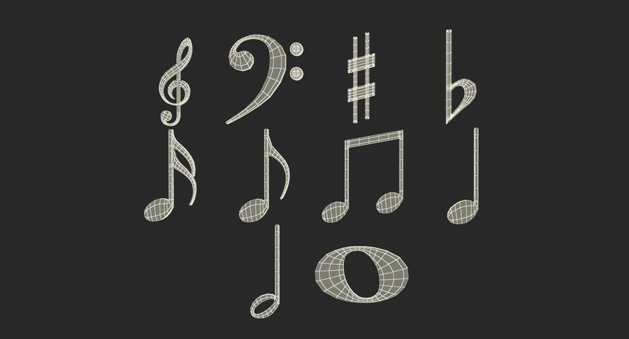 Plastic Musical Notes royalty-free 3d model - Preview no. 15