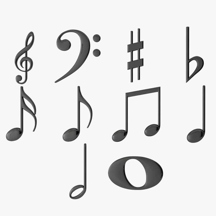 Plastic Musical Notes royalty-free 3d model - Preview no. 1