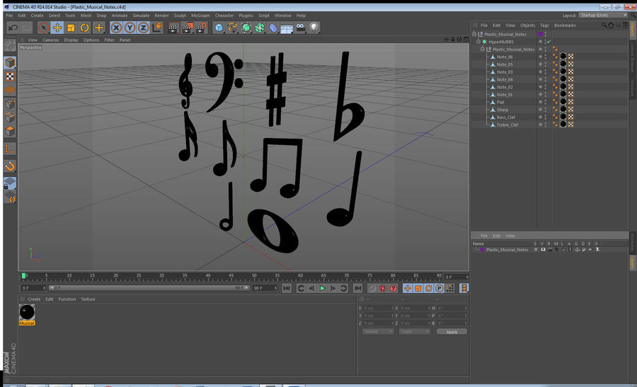 Plastic Musical Notes royalty-free 3d model - Preview no. 12