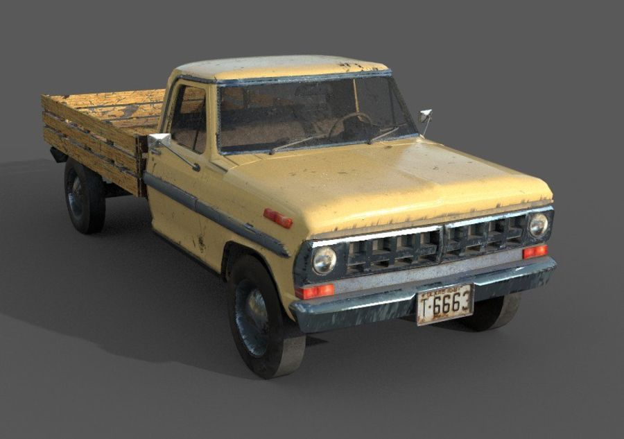 car rusty car,vehicle, jeep, low poly car royalty-free 3d model - Preview no. 4