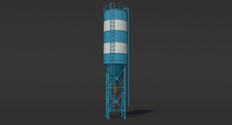 Silos cementowy Low Poly royalty-free 3d model - Preview no. 2