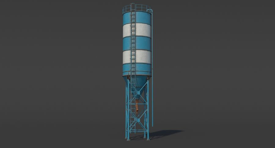 Silos cementowy Low Poly royalty-free 3d model - Preview no. 3