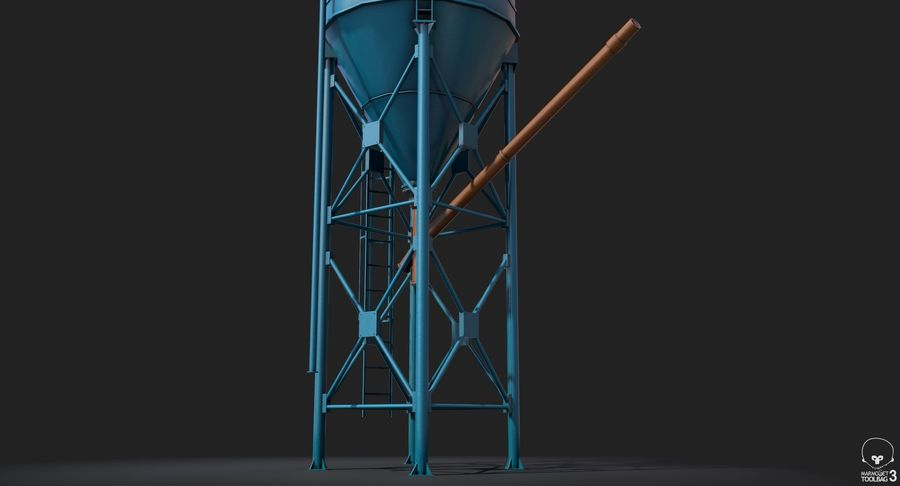 Silos cementowy Low Poly royalty-free 3d model - Preview no. 9