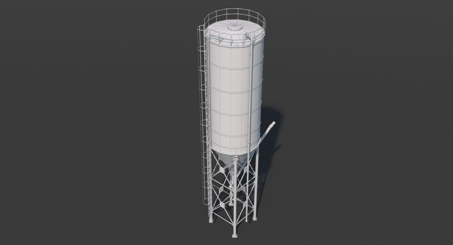 Silos cementowy Low Poly royalty-free 3d model - Preview no. 11