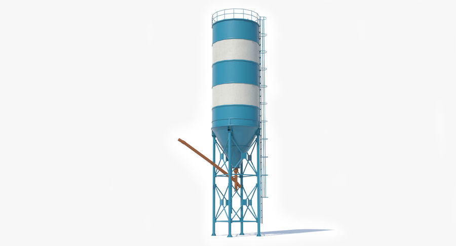 Silos cementowy Low Poly royalty-free 3d model - Preview no. 4