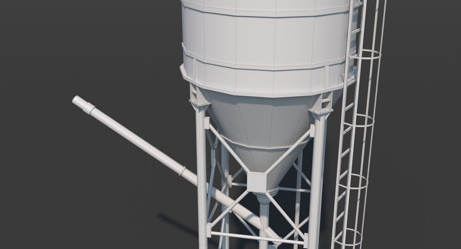 Silos cementowy Low Poly royalty-free 3d model - Preview no. 13