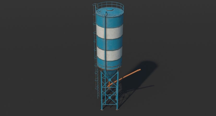 Silos cementowy Low Poly royalty-free 3d model - Preview no. 6