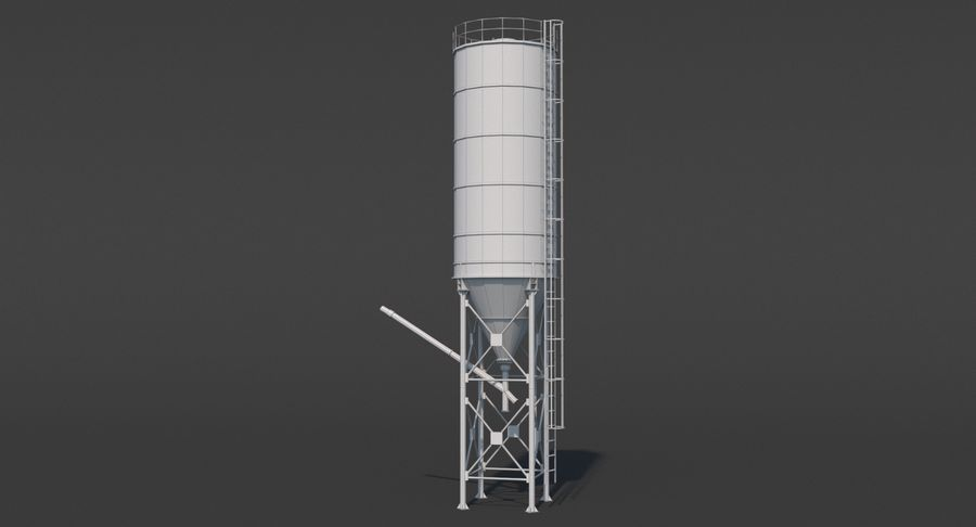 Silos cementowy Low Poly royalty-free 3d model - Preview no. 12