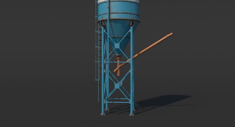 Silos cementowy Low Poly royalty-free 3d model - Preview no. 7