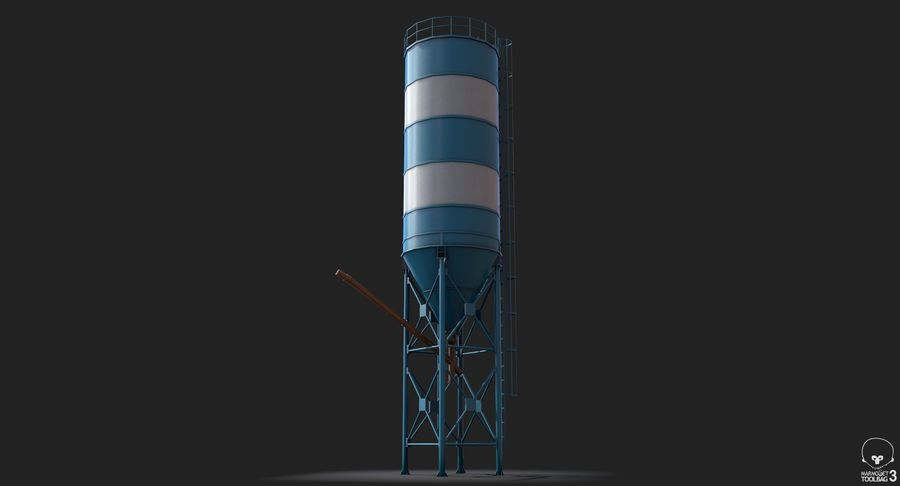 Silos cementowy Low Poly royalty-free 3d model - Preview no. 10