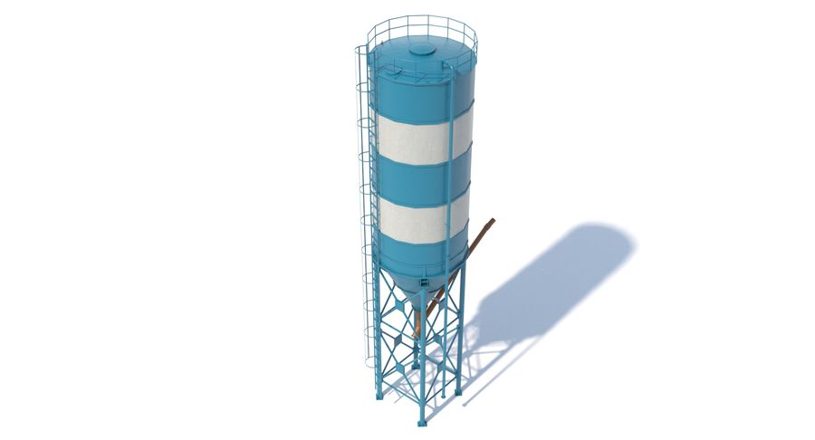 Silos cementowy Low Poly royalty-free 3d model - Preview no. 5