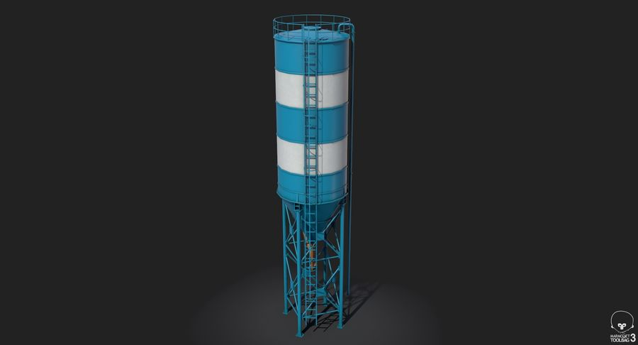 Silos cementowy Low Poly royalty-free 3d model - Preview no. 8