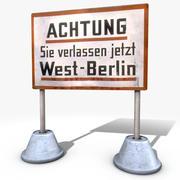 Västra Berlin varningsskylt 3d model