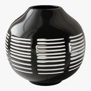 Ponto preto branco vaso de cerâmica 3d model