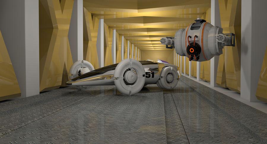 Sci fi collection (sci fi car, sci fi drone & sci fi corridor) royalty-free 3d model - Preview no. 7