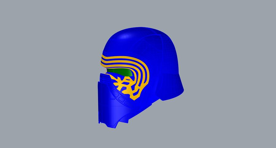 Nurbs Kylo Ren Helmet 3D model royalty-free 3d model - Preview no. 13