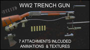 WW2 Trench Gun with Animations and Attachments 3d model