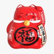招き猫貯金箱(赤) 3d model