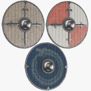 Tres escudos de escudo modelo 3d
