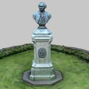 lomonosov monument and flowerbed 3d model