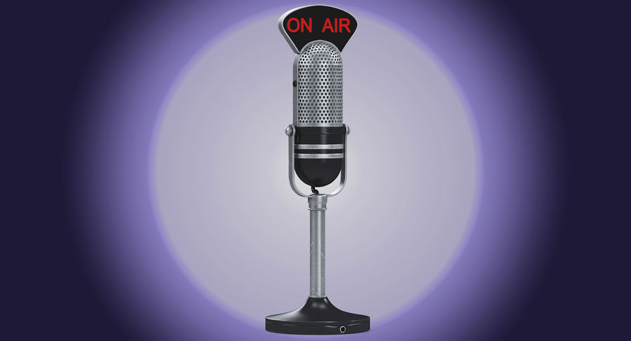 Vintage Broadcast Microphone royalty-free 3d model - Preview no. 2