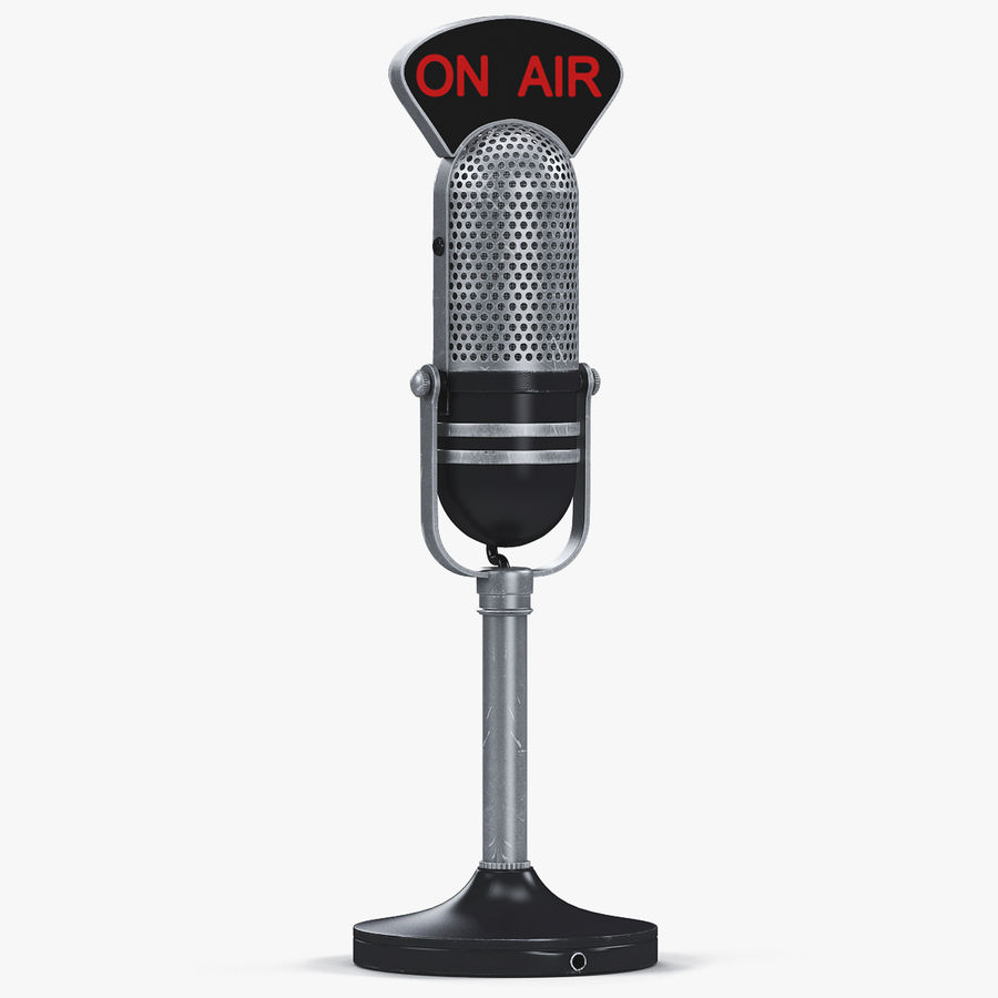 Vintage Broadcast Microphone royalty-free 3d model - Preview no. 1