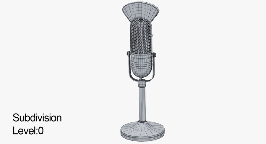 Vintage Broadcast Microphone royalty-free 3d model - Preview no. 5