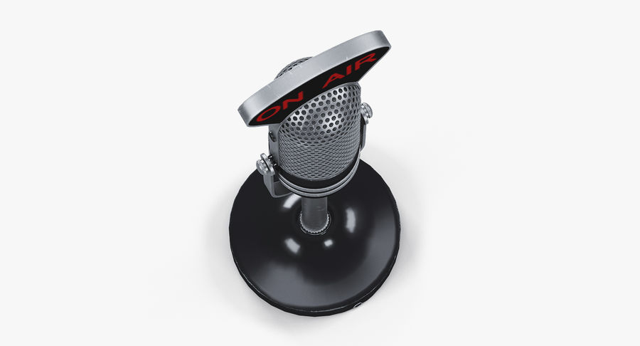 Vintage Broadcast Microphone royalty-free 3d model - Preview no. 8