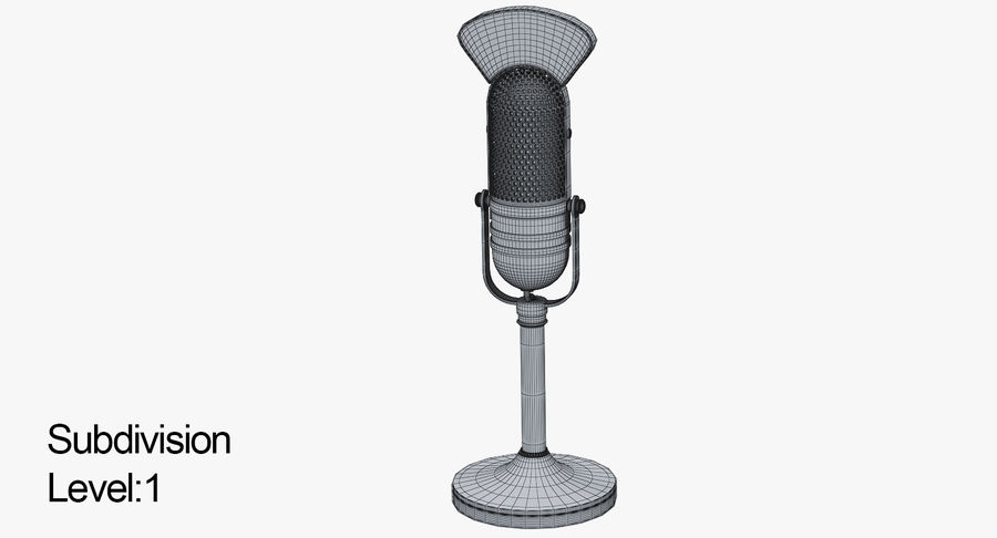 Vintage Broadcast Microphone royalty-free 3d model - Preview no. 6