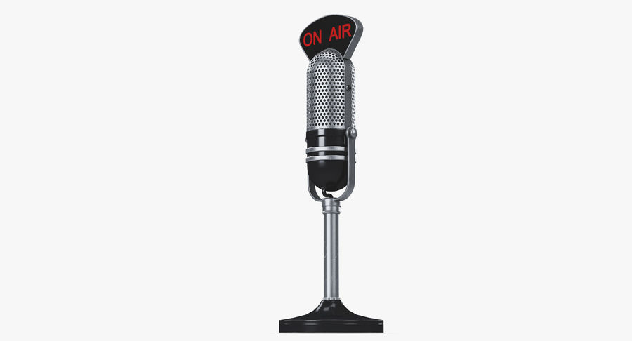 Vintage Broadcast Microphone royalty-free 3d model - Preview no. 9