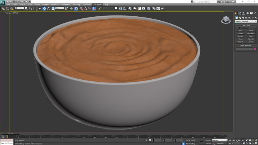 Peanut Butter in a Plate royalty-free 3d model - Preview no. 18
